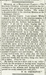 Reverend Tillman D. Peurifoy writes of the massacre of his family, April 1, 1836