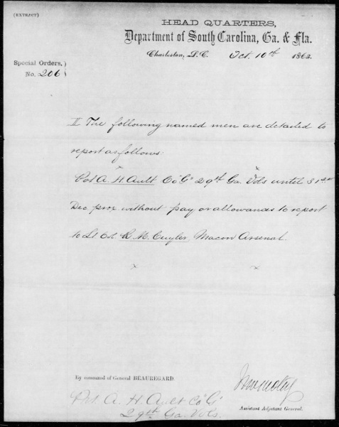 October 10, 1863 detailing Private Ault to work at the Macon Arsenal.