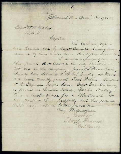 Letter dated October 17, 1863 protesting reassignment of Private R. H. Ault to work at the Macon Arsenal.
