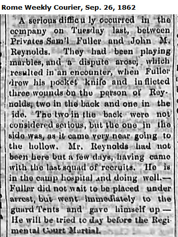 Letter from a Floyd County soldier reports deadly game of marbles at the camp of the 29th Georgia Regiment, Savannah, GA
