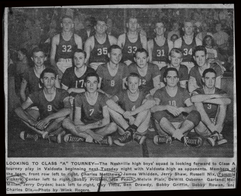 Melvin Plair played on the 1952-53 Nashville High Sschool boys basketball team. Image courtesy of www.berriencountyga.com