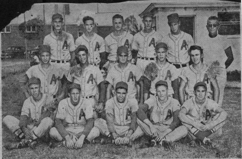 The Nashville Herald, front page, June 23, 1955 Photo caption: ALAPAHA LIONS BASEBALL SQUAD – Berrien County's representative in the Twin-Rivers Baseball League this year is the young and talented Alapaha Lions Club team pictured above. Players, front row, L-R, James Moore, Edwin Register, Charles Matthews, Billy Sanderson, Weyman Vickers; middle row L-R, Melvin Plair, Joe Dixon, Russell Nix, Garland McMillan, Joe Peach; back row L-R, Manager Buford Powell, Tommie Vickers, J.C. Rowe, Rufus Powell, Harvey Dorsey, Coach Julian Paulk. Squad members not present for picture include Don Haskins, Hubert Moore and Pete Williams. – Photo by Wink Rogers.
