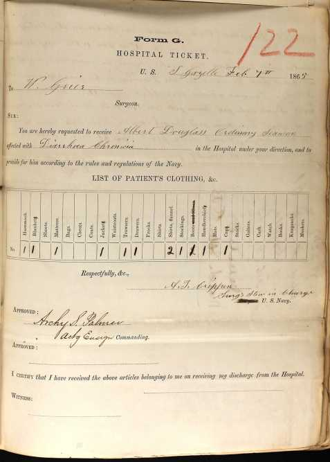 albert-douglas-union-navy-record-2-7-1865-hospital-ticket