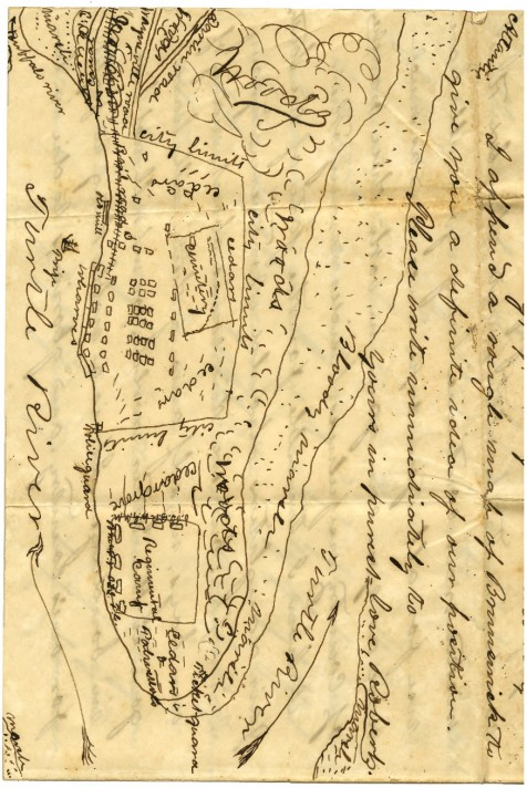 1861 map of Brunswick, GA showing location of the encampment of Captain Levi J. Knight's company of volunteer infantry, the Berrien Minute Men.