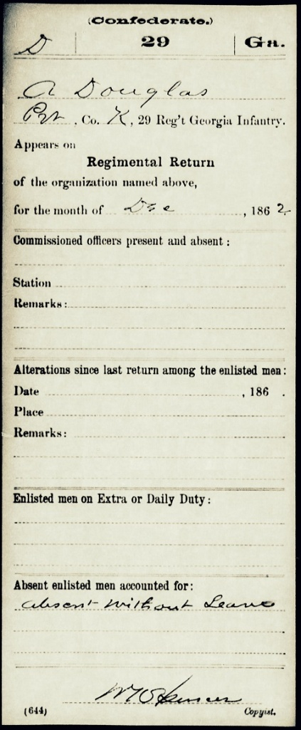 Albert Douglas' regimental return for December 1862 shows him absent without leave;