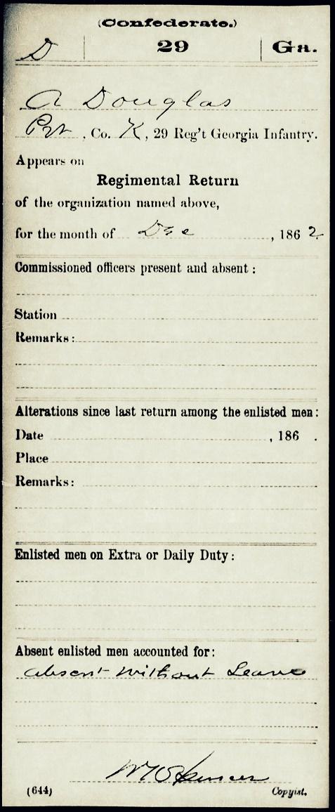Albert Douglas' regimental return for December 1862 shows him absent without leave;