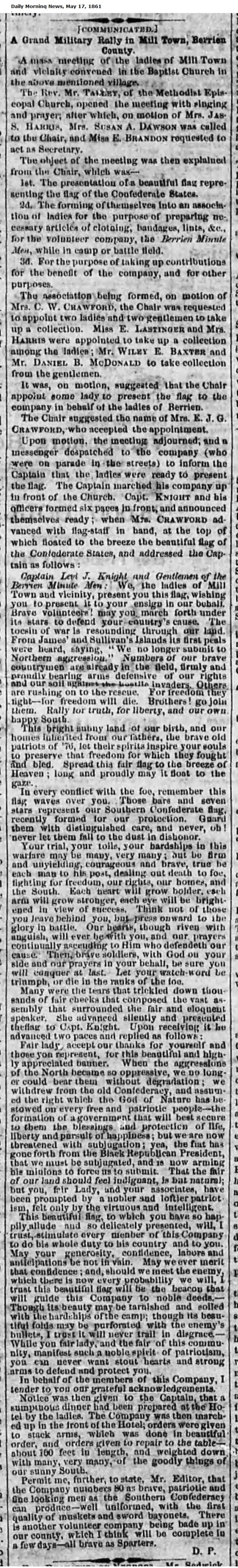 Military Rally at Milltown, GA. May 17, 1861 Savannah Daily Morning News