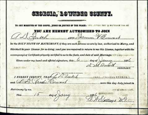 "Marriage license of Francis ""Verdie"" Cowart and A. D. Futch. January 15, 1896, Lowndes County, GA"