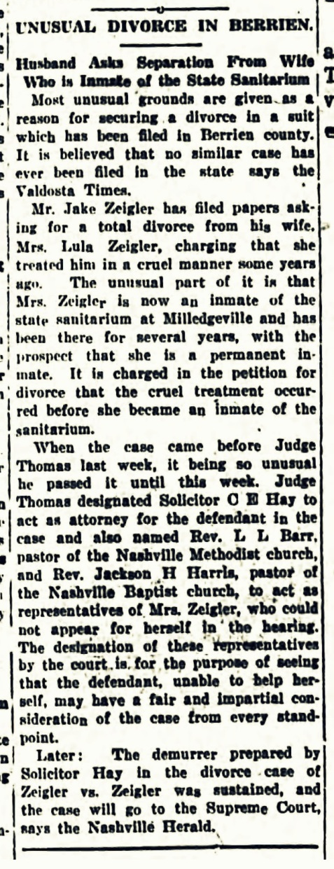 April 4, 1919 Tifton Gazette: Jesse Zeigler files for divorce
