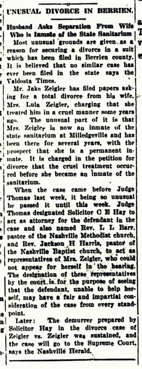 April 4, 1919 Tifton Gazette: Jesse Zeigler files for divorce