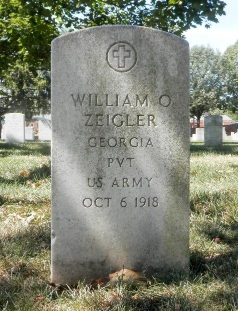 """Grave of William C. Zeigler, Arlington National Cemetery. (The middle initial is incorrectly engraved as """"O"""") Image source: Paul Hays."""