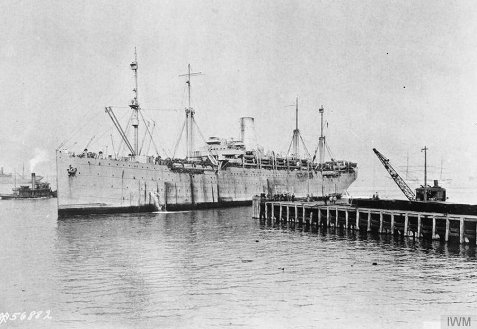 After the war, William C. Zeigler and other Otranto dead were transported back to the United states aboard the U.S. Army Transport ship Antigone, photographed here during the war while in service as the USS Antigone troop transport.