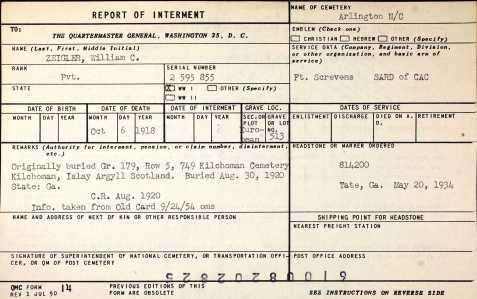 Arlington Cemetery internment record, William C. Zeigler
