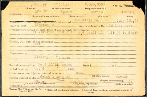 World War I service record of William C. Zeigler.
