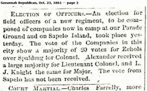 October 23, 1861 Savannah Republican reports election of Levi J. Knight as Major of the 29th Georgia Regiment