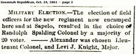 October 24, 1861 Savannah Republican reports election of Levi J. Knight as Major of the 29th Georgia Regiment