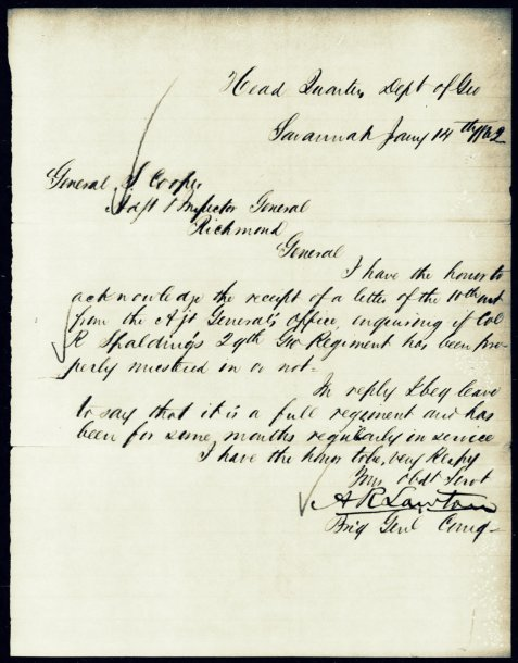 Brigadier General A. R. Lawton letter of January 14, 1862 confirming readiness of the 29th GA Infantry