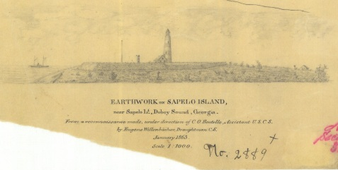 Sketch of Civil War Earthwork on Sapelo Island