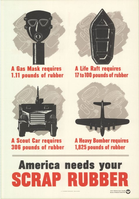 In 1942, the War Production Board circulated posters urging citizens to conserve and recycle critical war materials. A poster entitled America needs your scrap rubber was produced by in 1942. The poster dramatically illustrated the need for rubber in producing military equipment: A Gas Mask requires 1.11 pounds of rubber; A Life Raft requires 17 to 100 pounds of rubber; A Scout Car requires 306 pounds of rubber; A Heavy Bomber requires 1,825 pounds of rubber.