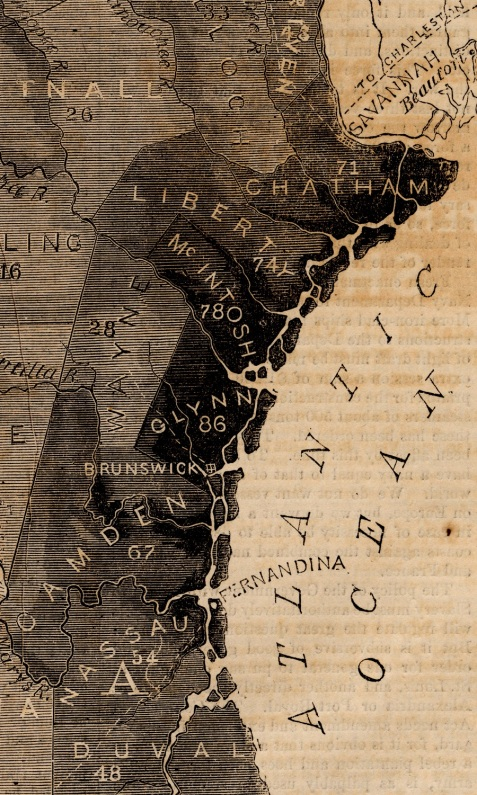 1861 Harpers map of Georgia Slavery - detail of coastal counties.