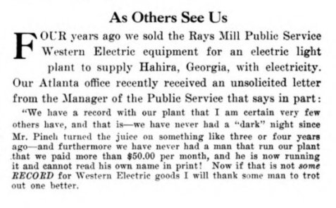 Rays Mill clipping from December, 1916 edition of the Western Electric News.