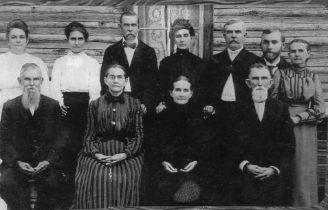 Children of Louisa English and William Lastinger. FRONT ROW (L to R): Henry Andrew Lastinger, Annis Lastinger Elliot, Elizabeth Lastinger Wilkerson, Peter Cornelius Lastinger. BACK ROW (L to R) Nebraska Lastinger, Kansas Lastinger, Joshua Lastiner, Arizona Lastinger, Lacy Elias Lastinger, William Hiram Lastinger, Jane Lastinger McDonald. Image courtesy of www.berriencountyga.com