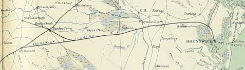 Civil War era map of the Brunswick & Florida Railroad, running from Yankee Town (now Waycross), GA to Brunswick, GA - Atlas to Accompany the Official Records of the Union and Confederate Armies.