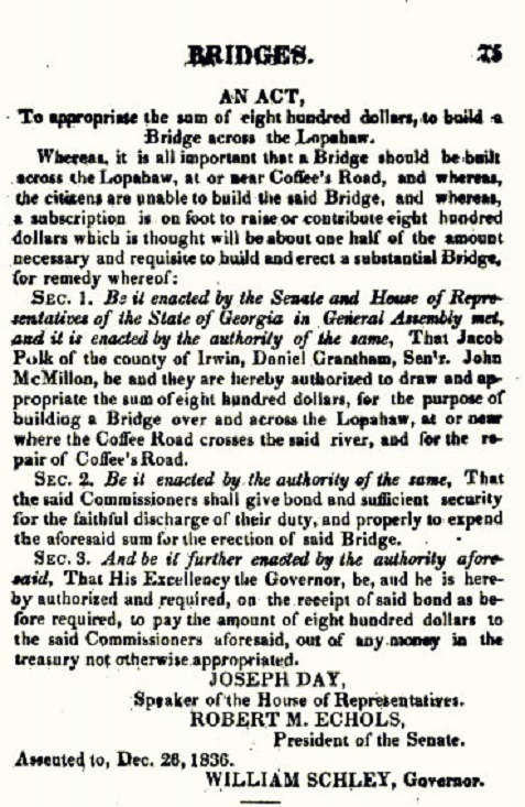 1836 Georgia Act to construct a bridge across the Lopahaw River