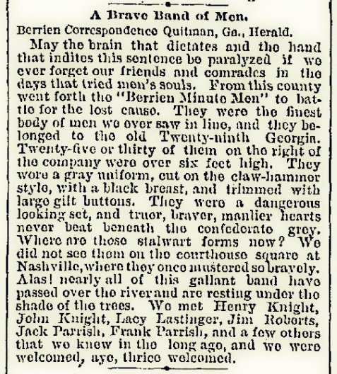 April 6,1888 Atlanta Constitution. A visitor to Nashville, GA recalls the formation of the Berrien Minute Men during the Civil War.