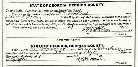 Mack Talley Bradford and Maggie R. Gaskins marriage certificate, September 29, 1901, Berrien County, GA