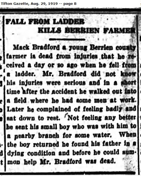 Tifton Gazette August 29, 1919 reports death of Mack Talley Bradford.