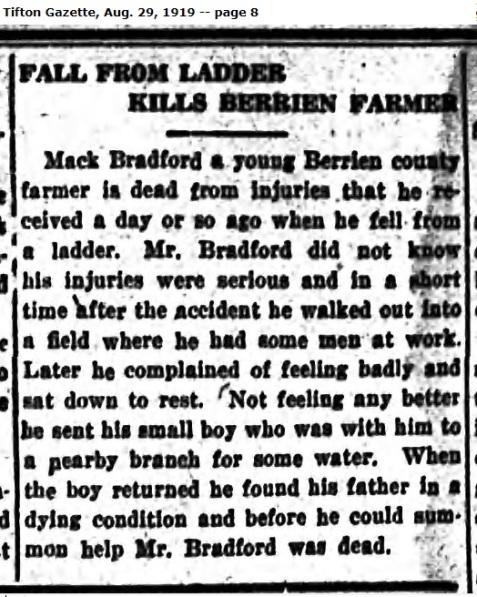 Tifton Gazette August 29, 1919 reports death of Mack Talley Bradford.