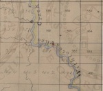 Enhanced detail of Irwin County survey plat District 5 showing location of land lot 381 on Willacoochee Creek. Reuben Marsh established a ferry over the Willacoochee in 1828.