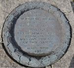Memorial plaque from Woodrow Wilson placed at the American Monument on the Mull of Oa, Islay, Scotland