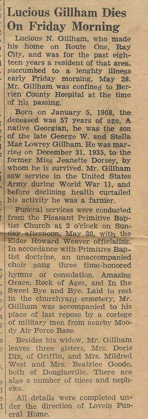 Obituary of Lucious Norman Gillham, of Ray City, GA
