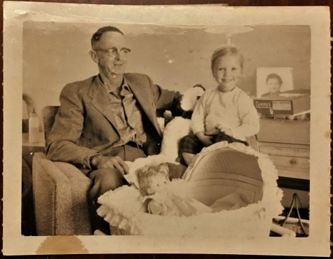 Rossie Futch and his granddaughter on Christmas Day, 1959 at Tallahassee, FL
