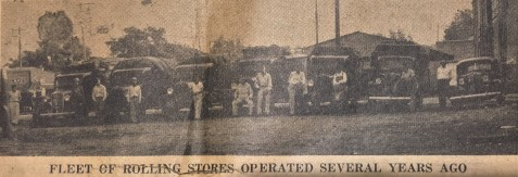 """Harveys Supermarket once operated a fleet of """"rolling stores"""" - trucks that brought groceries and dry goods to shoppers in rural areas."""