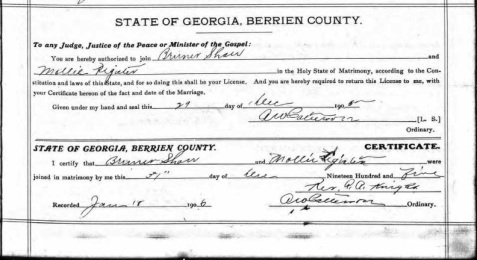 Marriage certificate of Charles Bruner Shaw and Mollie Register, December 31, 1905.