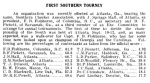 The Canadian Checker Player, a monthly magazine devoted to the game of draughts, reported the results of the 1908 Southern Checker Association tournament. Dr. Pierce Hubert ranked 13th in the region.