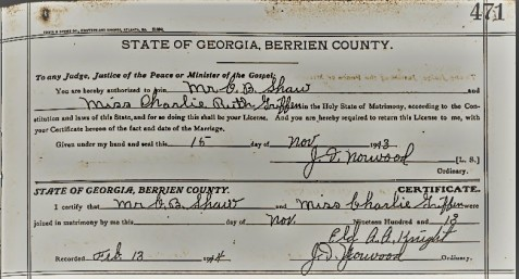 Marriage certificate of Charles Bruner Shaw and Charlie Ruth Griffin, November 24, 1913, Ray City, GA