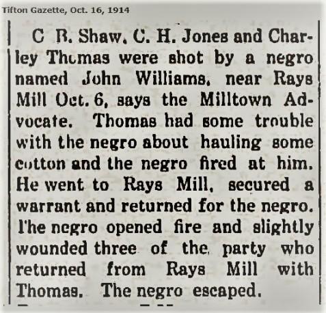 Tifton Gazette reports Bruner shot while serving an arrest warrant, October 6, 1914
