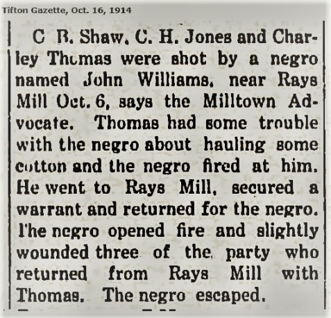 Tifton Gazette reports Bruner shot while serving an arrest warrant, October 6, 1914