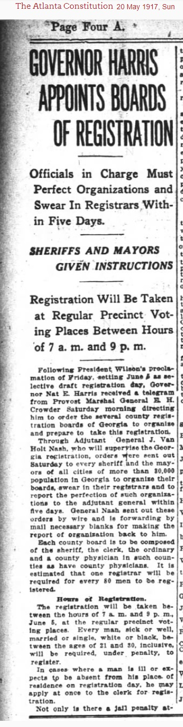 On May 17, 1917, the Governor of Georgia announced the appointment of county boards of registration for the selective draft for WWI. Registrars for Berrien County were J.V. Nix, J.H. Gaskins, J.I. Norwood, and L.A. Carter.