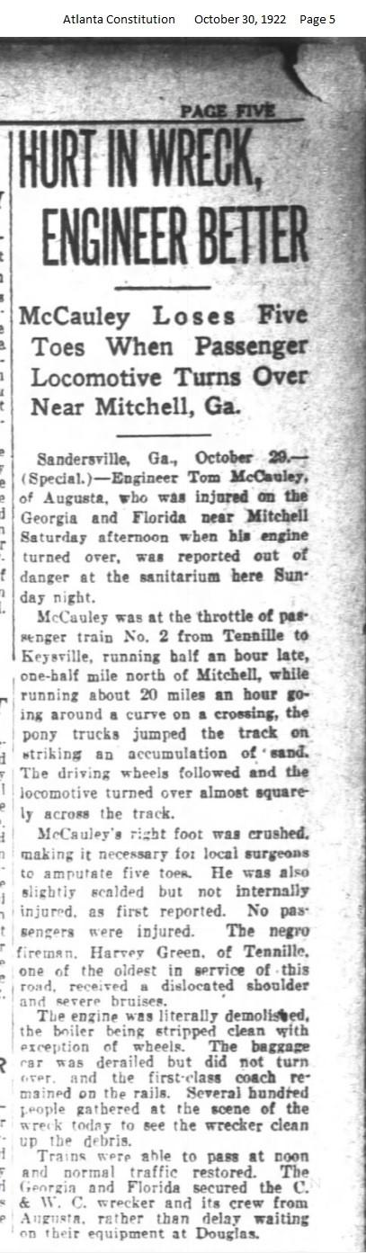 Atlanta Constitution reports 1922 train wreck on Georgia & Florida Railroad