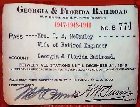 Georgia & Florida Railroad Card belonging to wife of retired railroad engineer Thomas Babington McCauley