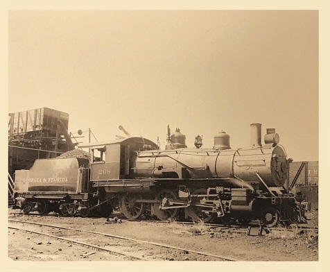 Georgia & Florida Engine No. 208 at Douglas. GA in 1948