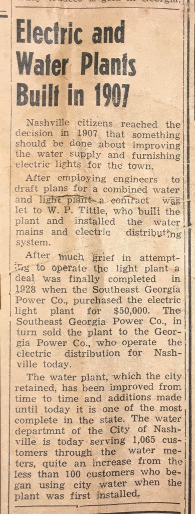 Nashville Herald article on town's first power and water