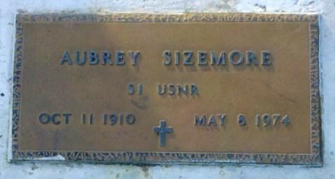 Grave marker of Aubrey Sizemore, Mount Paron Primitive Baptist Church Cemetery, Alapaha, GA