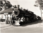_TJ Sutton and Ed Benton with Georgia and Florida Railroad Engine No. 507 at the depot in Nashville, GA, March 24, 1955. Image courtesy of www.berriencountyga.com
