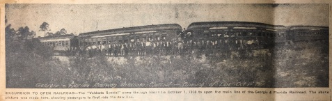 "EXCURSION TO OPEN RAILROAD - The ""Valdosta Special"" came through Ray City October 1, 1908 to open the main line of the Georgia & Florida Railroad. The picture was made in Nashville, GA, showing passengers to first ride the new line."
